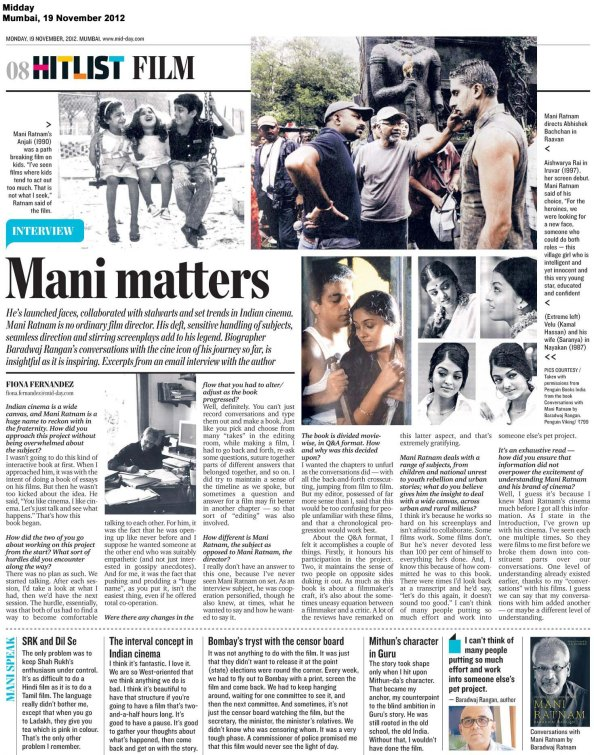 Conversations with Mani Ratnam, Midday, Mumbai, 111912